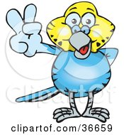 Clipart Illustration Of A Peaceful Blue And Yellow Budgie Smiling And Gesturing The Peace Sign With His Hand