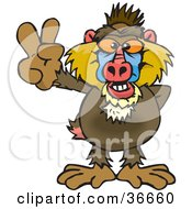 Clipart Illustration Of A Peaceful Baboon Smiling And Gesturing The Peace Sign With His Hand
