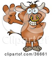 Clipart Illustration Of A Peaceful Bull Smiling And Gesturing The Peace Sign With His Hand