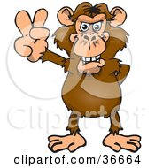 Clipart Illustration Of A Peaceful Chimpanzee Smiling And Gesturing The Peace Sign With His Hand