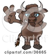 Clipart Illustration Of A Peaceful Bison Smiling And Gesturing The Peace Sign With His Hand