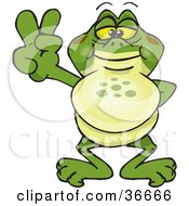 Clipart Illustration Of A Peaceful Bullfrog Smiling And Gesturing The Peace Sign With His Hand by Dennis Holmes Designs