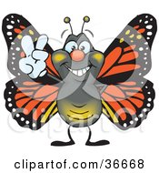 Clipart Illustration Of A Peaceful Monarch Butterfly Smiling And Gesturing The Peace Sign With His Hand