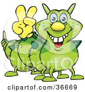 Peaceful Caterpillar Smiling And Gesturing The Peace Sign With His Hand