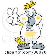 Clipart Illustration Of A Peaceful Cockatoo Bird Smiling And Gesturing The Peace Sign With His Hand by Dennis Holmes Designs