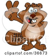 Clipart Illustration Of A Peaceful Beaver Smiling And Gesturing The Peace Sign With His Hand by Dennis Holmes Designs