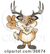 Clipart Illustration Of A Peaceful Buck Smiling And Gesturing The Peace Sign With His Hand