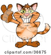 Clipart Illustration Of A Peaceful Ginger Cat Smiling And Gesturing The Peace Sign With His Hand by Dennis Holmes Designs