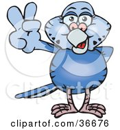 Clipart Illustration Of A Peaceful Blue Parakeet Smiling And Gesturing The Peace Sign With His Hand by Dennis Holmes Designs