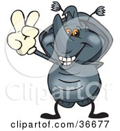 Clipart Illustration Of A Peaceful Horned Beetle Smiling And Gesturing The Peace Sign With His Hand