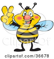 Clipart Illustration Of A Peaceful Honey Bee Smiling And Gesturing The Peace Sign With His Hand