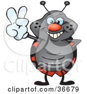 Clipart Illustration Of A Peaceful Beetle Smiling And Gesturing The Peace Sign With His Hand