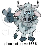 Clipart Illustration Of A Peaceful Gray Bull Smiling And Gesturing The Peace Sign With His Hand