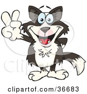Clipart Illustration Of A Peaceful Border Collie Dog Smiling And Gesturing The Peace Sign With His Hand by Dennis Holmes Designs