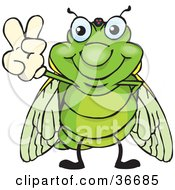 Peaceful Cicada Smiling And Gesturing The Peace Sign With His Hand