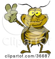 Clipart Illustration Of A Peaceful Cockroach Smiling And Gesturing The Peace Sign With His Hand