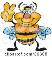 Clipart Illustration Of A Peaceful Bumble Bee Smiling And Gesturing The Peace Sign With His Hand by Dennis Holmes Designs