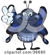 Clipart Illustration Of A Peaceful Butterfly Smiling And Gesturing The Peace Sign With His Hand