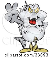 Clipart Illustration Of A Peaceful Bream Fish Smiling And Gesturing The Peace Sign With His Hand
