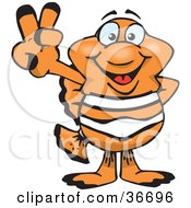 Clipart Illustration Of A Peaceful Clown Fish Smiling And Gesturing The Peace Sign With His Hand by Dennis Holmes Designs