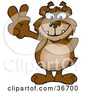 Clipart Illustration Of A Peaceful Bear Smiling And Gesturing The Peace Sign With His Hand