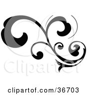 Black Silhouetted Elegant Curly Leafy Scroll Design