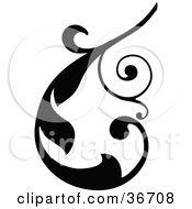 Clipart Illustration Of A Black Silhouetted Curling Elegant Leafy Scroll Design by OnFocusMedia