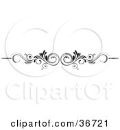 Clipart Illustration Of A Mirrored Black And White Scroll Lower Back Tattoo Design Or Flourish With Tendrils