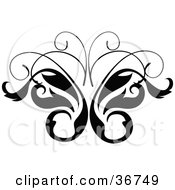 Clipart Illustration Of A Black And White Leavy Butterfly Vine Design Scroll