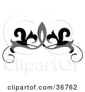 Clipart Illustration Of A Black And White Design Scroll Or Tattoo Design