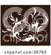Clipart Illustration Of An Elegant White Silhouetted Leafy Vine Flourish Accent On A Brown Background