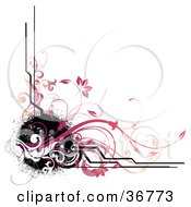 Clipart Illustration Of A Corner Design Of Black Splatters Lines And Pink Vines