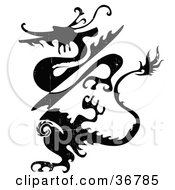 Clipart Illustration Of A Black And White Grunge Dragon by OnFocusMedia