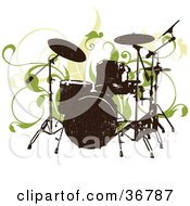 Clipart Illustration Of A Silhouetted Drum Set Abd Green Vines On A White Background