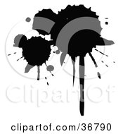 Clipart Illustration Of A Group Of Silhouetted Ink Splatters by OnFocusMedia