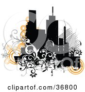 Clipart Illustration Of A Grunge City Skyline With Orange Circles And Black And White Vines