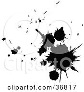 Clipart Illustration Of Black Silhouetted Splatters by OnFocusMedia