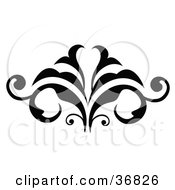 Clipart Illustration Of A Black Silhouetted Embellishment Design