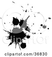Clipart Illustration Of A Cluster Of Black Paint Splatters by OnFocusMedia