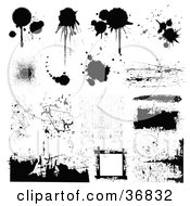 Clipart Illustration Of Grungy Textures Patterns And Splatters by OnFocusMedia