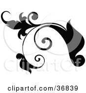 Clipart Illustration Of A Black Plant Design Element Scroll With Tendrils
