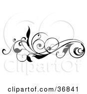Clipart Illustration Of A Curly Black Silhouetted Leafy Scroll Design Element