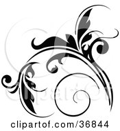Clipart Illustration Of A Floral Design Element In Black With Tendrils