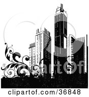 Clipart Illustration Of Black City Skyscrapers And Vines