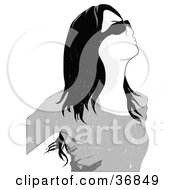 Clipart Illustration Of A Grungy Long Haired Woman In Shades Looking Upwards