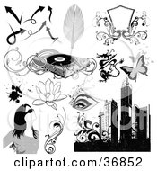 Clipart Illustration Of Arrows Feathers Shields Record Player Dragon Butterflies Eyes Lotus Flowers Splatters Woman Vines And Skyscrapers by OnFocusMedia