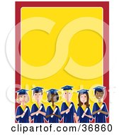 Clipart Illustration Of A Group Of Diverse Male And Female Students Graduating On A Red And Yellow Stationery Background