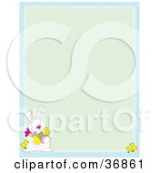 Clipart Illustration Of A Cute White Easter Bunny With Chicks And Eggs On A Green And Blue Stationery Background