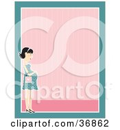 Gentle Pregnant Woman In A Dress Caressing Her Belly On A Pink And Blue Stationery Background