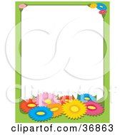 Green Border With Colorful Spring Daisy Flowers Bordering A White Background